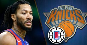 Derrick Rose Pistons With Clippers Logo And Knicks Background