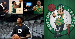 Marcus Smart With Boston Celtics Background