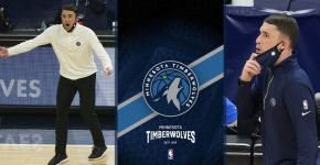 Ryan Saunders With Timberwolves Background