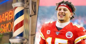 Patrick Mahomes With Barbershop Pole
