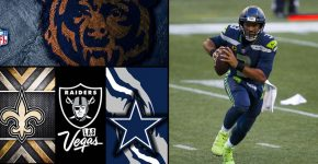 Russel Wilson Saints Raiders Bears Cowboys And NFL Logos