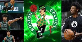 Marcus Smart With Celtics Background