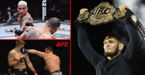 Khabib Holding Up UFC Belt With Michael Chandler And Charles Oliveira