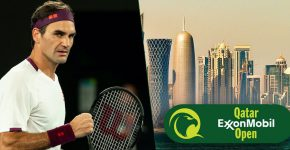 Roger Federer With Qatar And Qatar Open Logo