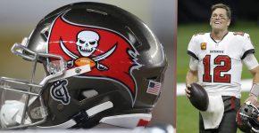 Tom Brady With Buccaneers Helmet Background