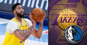 Anthony Davis With Lakers And Mavericks Background
