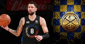 Austin Rivers With Denver Nuggets Background