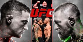 Dana White With Dustin Poirier And Conor McGregor UFC Trilogy Fight
