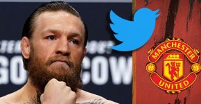 Conor McGregor With Twitter Logo And Manchester United Background