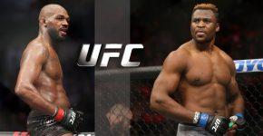 Jon Jones And Francis Ngannou With UFC Logo