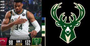 Heat Vs Bucks Game 2 With Bucks Background