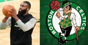 Jaylen Brown With Celtics Background