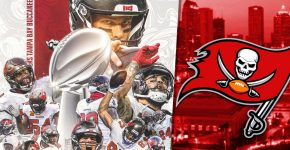 Super Bowl Winning Buccaneers With TB Background