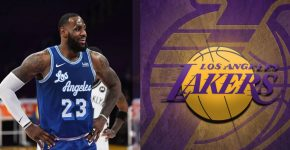 Lebron James With Lakers Vs Nets And Lakers Background