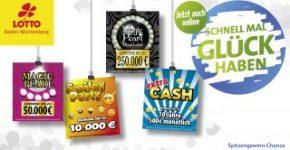 Empat kartu gosok online baru di Lotto Baden-Württemberg.
