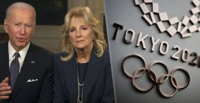 Joe And Jill Biden With Tokyo 2020 Olympic Backdrop