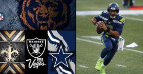Russel Wilson Saints Raiders Bears Cowboys And NFL Logos