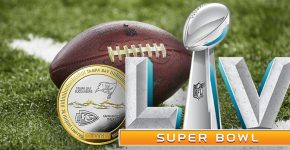 Super Bowl LV Logo With KC And TB Coin