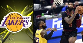 Andre Drummond With Lebron James And Lakers Background