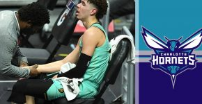 Lamelo Ball Wrist Injury With Charlotte Hornets Background