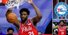 Joel Embiid Dunking With 76ers Background