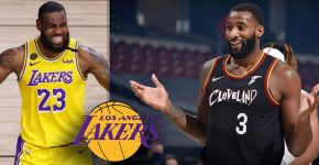 Lebron James With Lakers Logo And Andre Drummond