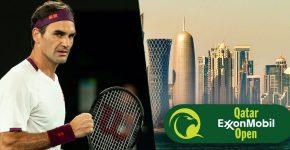 Roger Federer With Qatar And Qatar Open Logo