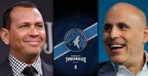 Alex Rodriguez And Marc Lore With Timberwolves Background