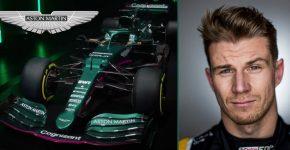 Nico Hulkenberg With Aston Martin F1 Car And Background