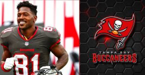 Antonio Brown With Buccaneers Background