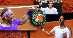 Djokovic And Nadal With Federer And French Open Logo