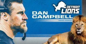 Detroit Lions Dan Campbell Head Coach With Lion