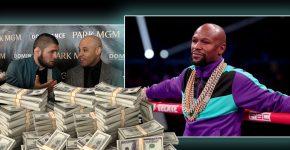 Ali Abdelaziz And Khabib With Pile Of Money And Floyd Mayweather (1)
