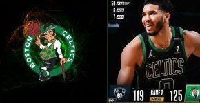 Jayson Tatum With Celtics And Nets Background
