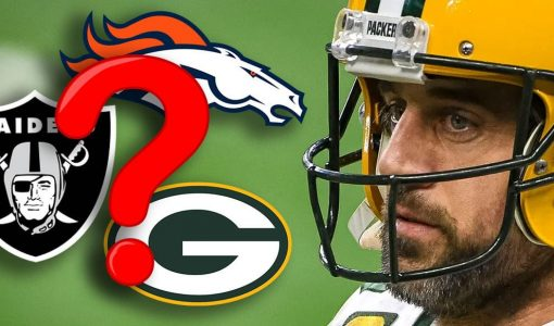 Aaron Rodgers With Packers And Raiders And Broncos Logo