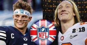Zach Wilson And Trevor Lawrence With UK And NFL Logo
