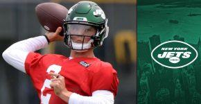 Zach Wilson With New York Jets Background