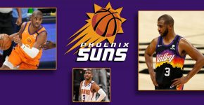 Chris Paul Multiple Poses With Phoenix Suns Background