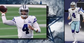 Dak Prescott With Cowboys Background