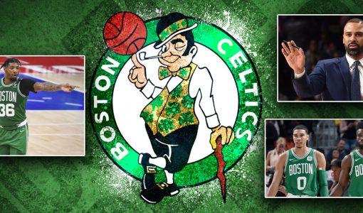 Ime Udoka With Celtics Background And Tatum And Brown And Smart