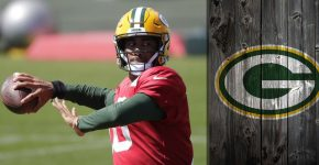 Jordan Love With Packers Background