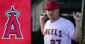Mike Trout With Los Angeles Angels Background