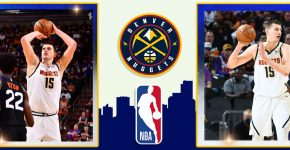Nikola Jokic With NBA Logo And Denver Nuggets Background
