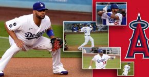 Albert Pojuls Of Los Angeles Dodgers With Angels Logo Background