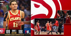 Hawks Vs 76ers With Trae Young And Hawks Background
