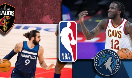 Ricky Rubio And Taurean Prince With Timberwolves And Cavaleirs Logo