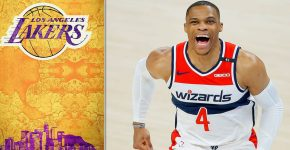 Russel Westbrook With Lakers Background