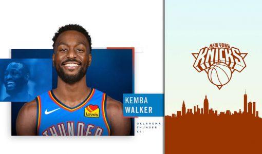 Kemba Walker OKC Thunder With Knicks Background