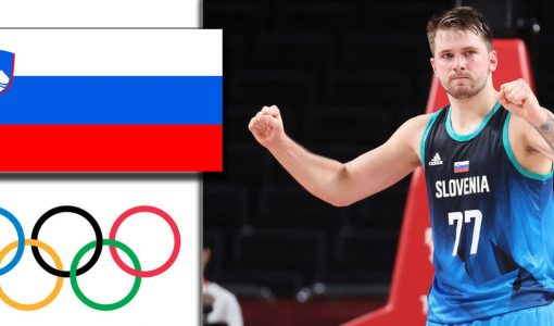 Luka Doncic With Slovenia And Olympic Background